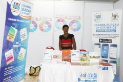 Inset in Ms. Nalukenge Primrose-Information Assistant exhibiting UBOS products and Services at the 8th  African Population Conference at Imperial Resort Beach Hotel ,Entebbe.