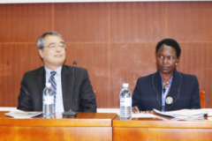 L-R  Mr. Muwonge James—Director Social Economic Statistics ,Mr. Nobuo Yoshida -Lead Economist, World Bank, Ms. Imelda Atai Musana - Deputy Executive Director  -UBOS and  Mr. Diego Angemi  Chief, Social Policy and Advocacy UNICEF at the Dissemination  Workshop for the  Uganda  Poverty Maps 2016/17 held at Statistics House, Kampala.