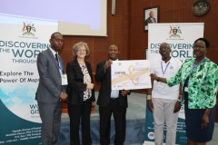 R-L  Ms. Imelda Atai Musana DED/SPD , Mr. Muhwezi Bernard Justus - Manager Geo-Information Services, Mr. Vitus Kato Mulindwa –Deputy Executive Director Corporate Services and  Ms. Nooreen Prendiville the Deputy Country Representative UNICEF  launching the ESRI GIS Application during the GIS Day Celebrations Held at Statistics House Kampala.